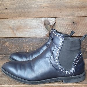 Zara Studded Midnight Blue Leather Slip On Boots